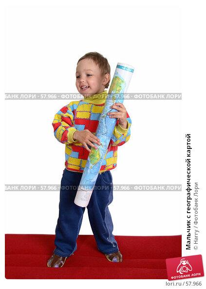 Мальчик с географической картой, фото № 57966, снято 4 июня 2007 г. (c) Harry / Фотобанк Лори