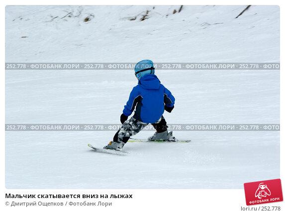 Мальчик скатывается вниз на лыжах, фото № 252778, снято 18 марта 2007 г. (c) Дмитрий Ощепков / Фотобанк Лори