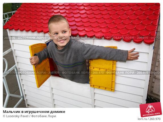 Мальчик в игрушечном домике, фото № 260970, снято 6 декабря 2016 г. (c) Losevsky Pavel / Фотобанк Лори