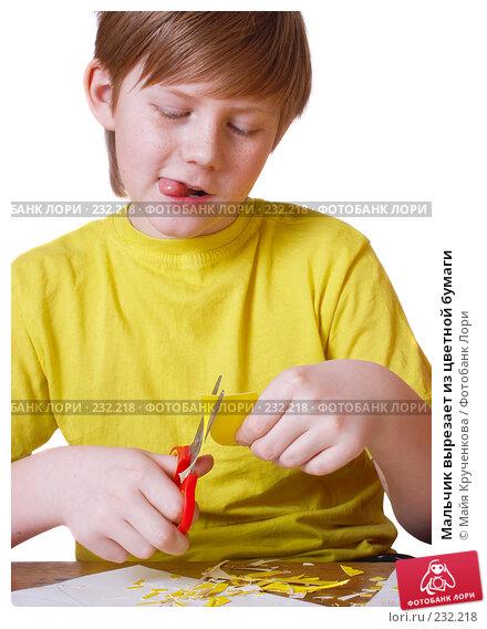 Мальчик вырезает из цветной бумаги, фото № 232218, снято 24 марта 2008 г. (c) Майя Крученкова / Фотобанк Лори