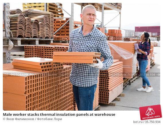 Male worker stacks thermal insulation panels at warehouse. Стоковое фото, фотограф Яков Филимонов / Фотобанк Лори