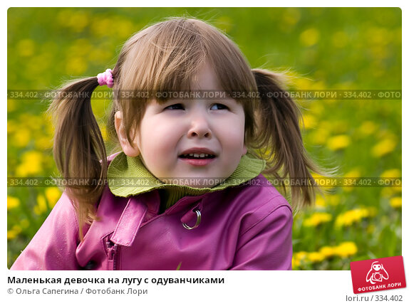 Маленькая девочка на лугу с одуванчиками, фото № 334402, снято 12 мая 2007 г. (c) Ольга Сапегина / Фотобанк Лори
