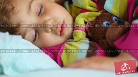 Купить «Маленькая девочка спит в поезде, обняв игрушечного медведя», видеоролик № 3562182, снято 3 января 2010 г. (c) Losevsky Pavel / Фотобанк Лори