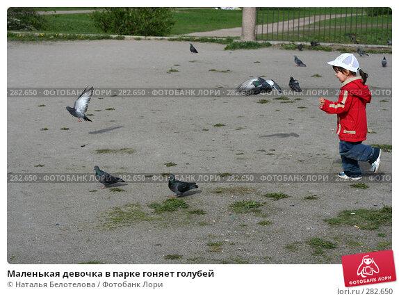 Маленькая девочка в парке гоняет голубей, фото № 282650, снято 10 мая 2008 г. (c) Наталья Белотелова / Фотобанк Лори