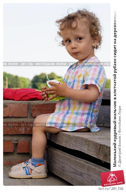 Купить «Маленький кудрявый мальчик в клетчатой рубахе сидит на деревянных ступенях на крыльце и держит в руках пакет с соком», фото № 281726, снято 25 июня 2006 г. (c) Дмитрий Боков / Фотобанк Лори