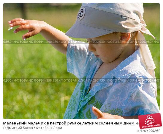 Маленький мальчик в пестрой рубахе летним солнечным днем на фоне зеленой травы. С пальцев свисают капли воды, фото № 290930, снято 15 июля 2006 г. (c) Дмитрий Боков / Фотобанк Лори