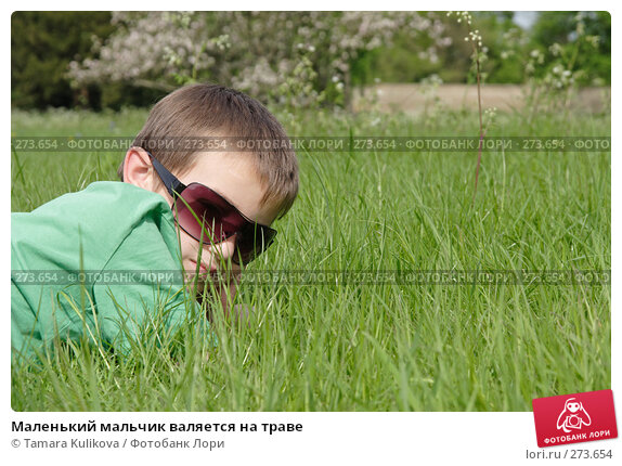 Маленький мальчик валяется на траве, фото № 273654, снято 5 мая 2008 г. (c) Tamara Kulikova / Фотобанк Лори