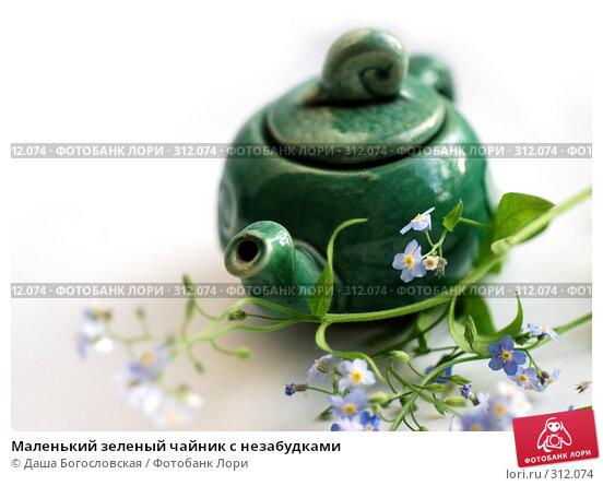 Маленький зеленый чайник с незабудками, фото № 312074, снято 5 июня 2008 г. (c) Даша Богословская / Фотобанк Лори