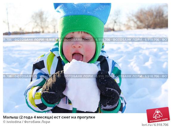 Малыш (2 года 4 месяца) ест снег на прогулке. Стоковое фото, фотограф ivolodina / Фотобанк Лори