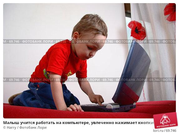 Малыш учится работать на компьютере, увлеченно нажимает кнопки на ноутбуке, фото № 69746, снято 4 июня 2007 г. (c) Harry / Фотобанк Лори