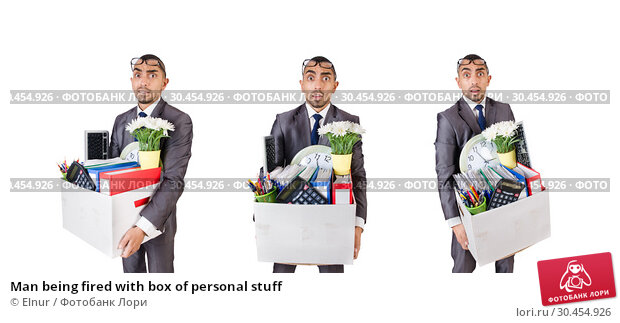 Man being fired with box of personal stuff. Стоковое фото, фотограф Elnur / Фотобанк Лори