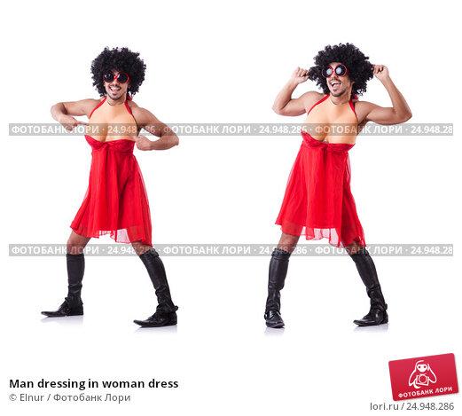 Купить «Man dressing in woman dress», фото № 24948286, снято 14 февраля 2013 г. (c) Elnur / Фотобанк Лори