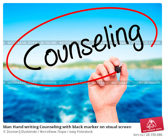 Купить «Man Hand writing Counseling with black marker on visual screen», фото № 28150086, снято 19 июня 2018 г. (c) easy Fotostock / Фотобанк Лори