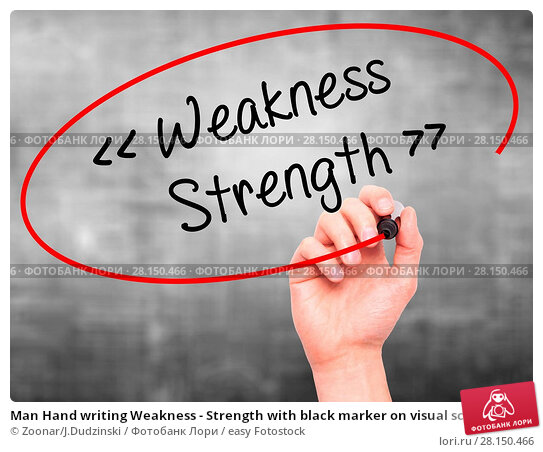 Купить «Man Hand writing Weakness - Strength with black marker on visual screen», фото № 28150466, снято 19 июня 2018 г. (c) easy Fotostock / Фотобанк Лори