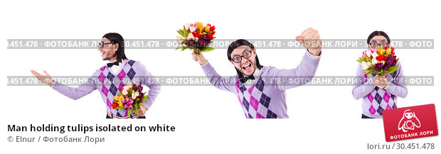 Man holding tulips isolated on white. Стоковое фото, фотограф Elnur / Фотобанк Лори