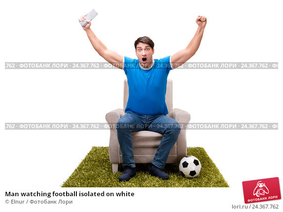 Купить «Man watching football isolated on white», фото № 24367762, снято 21 октября 2016 г. (c) Elnur / Фотобанк Лори