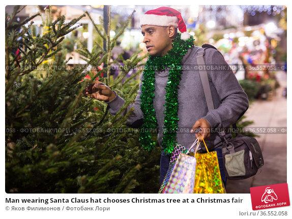 Man wearing Santa Claus hat chooses Christmas tree at a Christmas fair. Стоковое фото, фотограф Яков Филимонов / Фотобанк Лори