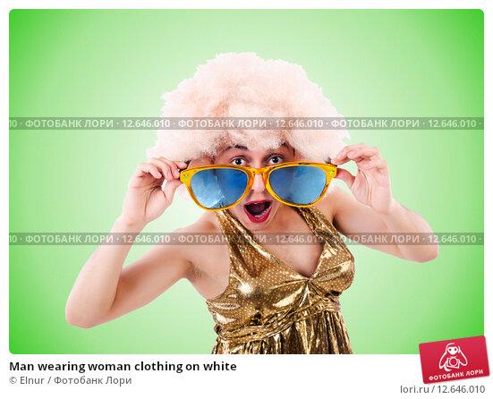 Купить «Man wearing woman clothing on white», фото № 12646010, снято 10 мая 2013 г. (c) Elnur / Фотобанк Лори