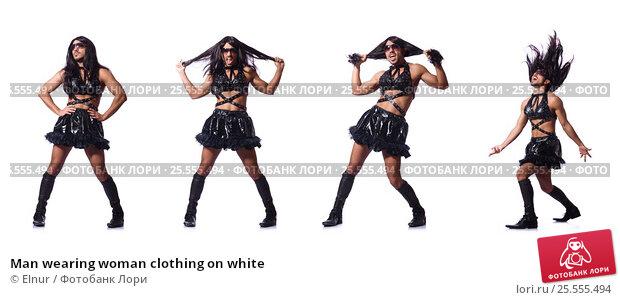 Купить «Man wearing woman clothing on white», фото № 25555494, снято 14 февраля 2013 г. (c) Elnur / Фотобанк Лори