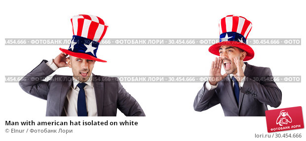 Man with american hat isolated on white. Стоковое фото, фотограф Elnur / Фотобанк Лори