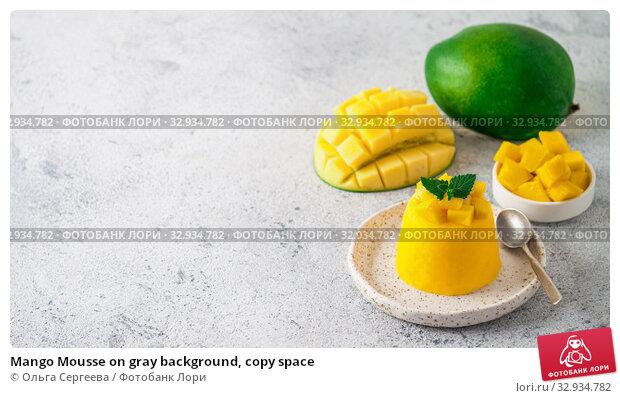 Купить «Mango Mousse on gray background, copy space», фото № 32934782, снято 9 августа 2019 г. (c) Ольга Сергеева / Фотобанк Лори
