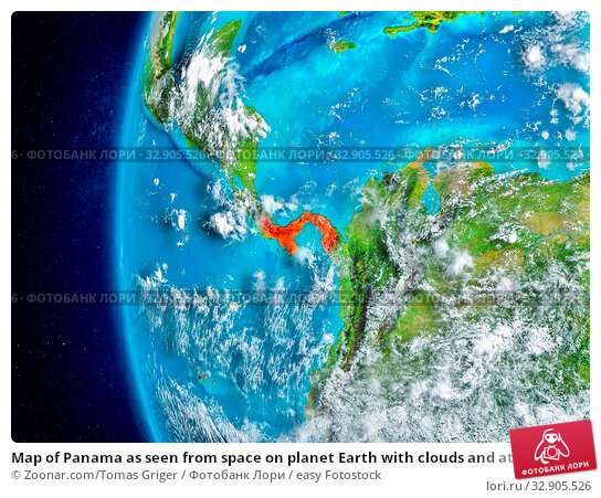 Map of Panama as seen from space on planet Earth with clouds and atmosphere. 3D illustration. Elements of this image furnished by NASA. Стоковое фото, фотограф Zoonar.com/Tomas Griger / easy Fotostock / Фотобанк Лори