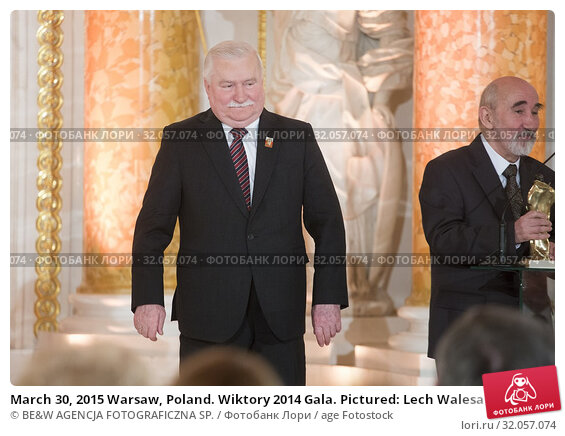 March 30, 2015 Warsaw, Poland. Wiktory 2014 Gala. Pictured: Lech Walesa. Редакционное фото, фотограф BE&W AGENCJA FOTOGRAFICZNA SP. / age Fotostock / Фотобанк Лори
