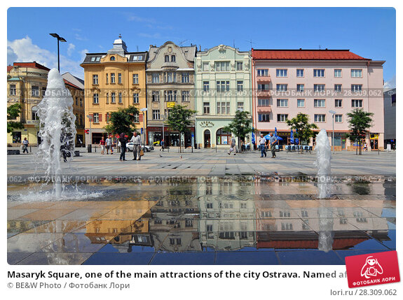 Купить «Masaryk Square, one of the main attractions of the city Ostrava. Named after the first President of the independent Czechoslovakia.», фото № 28309062, снято 16 июня 2019 г. (c) BE&W Photo / Фотобанк Лори
