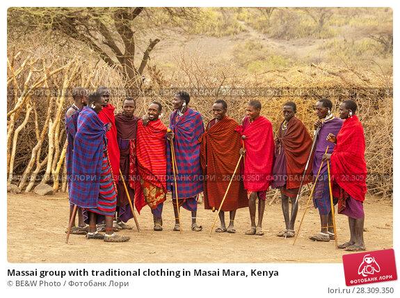 Купить «Massai group with traditional clothing in Masai Mara, Kenya», фото № 28309350, снято 19 апреля 2018 г. (c) BE&W Photo / Фотобанк Лори