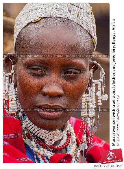 Купить «Massai woman with traditional clothes and jewellery, Kenya, Africa», фото № 28309358, снято 19 декабря 2018 г. (c) BE&W Photo / Фотобанк Лори