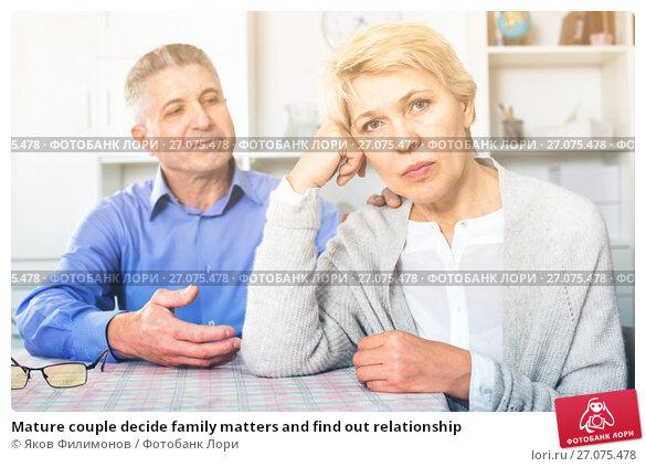 Купить «Mature couple decide family matters and find out relationship», фото № 27075478, снято 13 декабря 2017 г. (c) Яков Филимонов / Фотобанк Лори