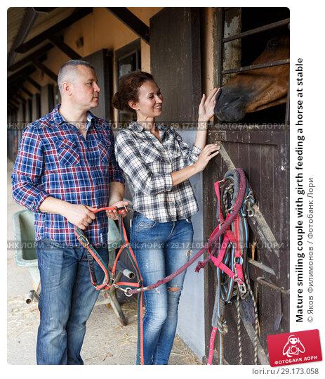 Купить «Mature smiling couple with girth feeding a horse at stable», фото № 29173058, снято 4 июля 2018 г. (c) Яков Филимонов / Фотобанк Лори
