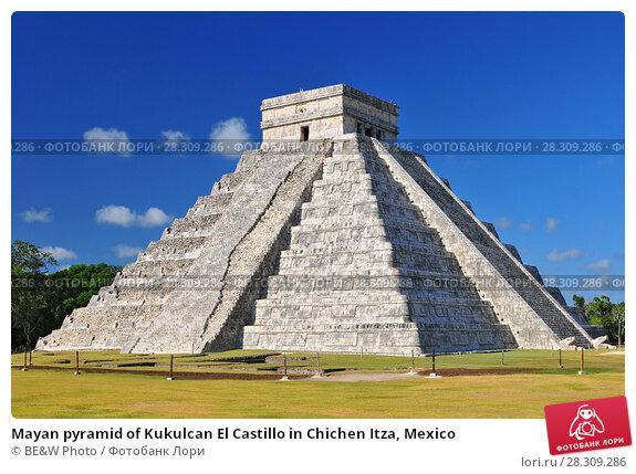 Купить «Mayan pyramid of Kukulcan El Castillo in Chichen Itza, Mexico», фото № 28309286, снято 26 апреля 2018 г. (c) BE&W Photo / Фотобанк Лори