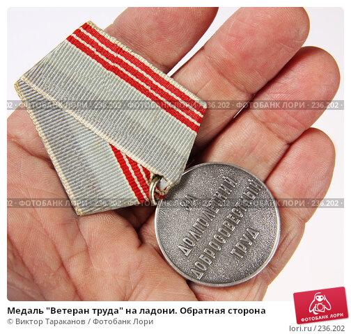 """Медаль """"Ветеран труда"""" на ладони. Обратная сторона, эксклюзивное фото № 236202, снято 29 марта 2008 г. (c) Виктор Тараканов / Фотобанк Лори"""