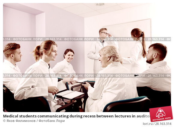 Купить «Medical students communicating during recess between lectures in auditorium», фото № 28163314, снято 5 октября 2017 г. (c) Яков Филимонов / Фотобанк Лори
