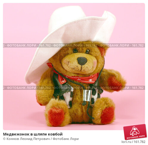 Медвежонок в шляпе ковбой, фото № 161782, снято 23 декабря 2007 г. (c) Коннов Леонид Петрович / Фотобанк Лори