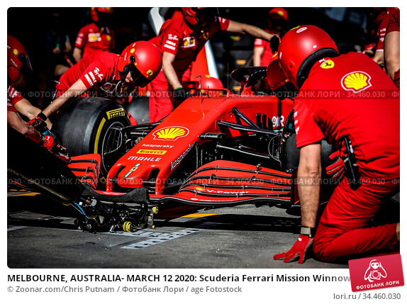 MELBOURNE, AUSTRALIA- MARCH 12 2020: Scuderia Ferrari Mission Winnow... Стоковое фото, фотограф Zoonar.com/Chris Putnam / age Fotostock / Фотобанк Лори
