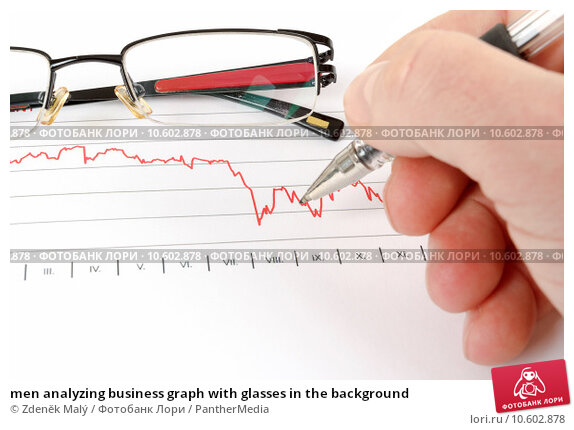 men analyzing business graph with glasses in the background. Стоковая иллюстрация, иллюстратор Zdeněk Malý / PantherMedia / Фотобанк Лори