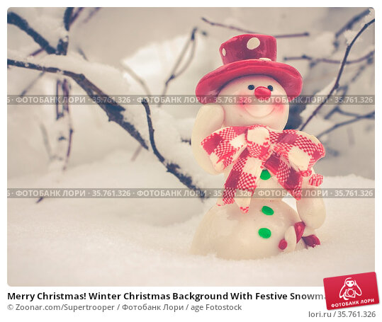 Merry Christmas! Winter Christmas Background With Festive Snowman... Стоковое фото, фотограф Zoonar.com/Supertrooper / age Fotostock / Фотобанк Лори