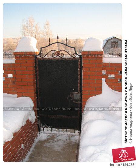 Купить «Металлическая калитка с коваными элементами», фото № 184258, снято 20 января 2008 г. (c) Ирина Андреева / Фотобанк Лори