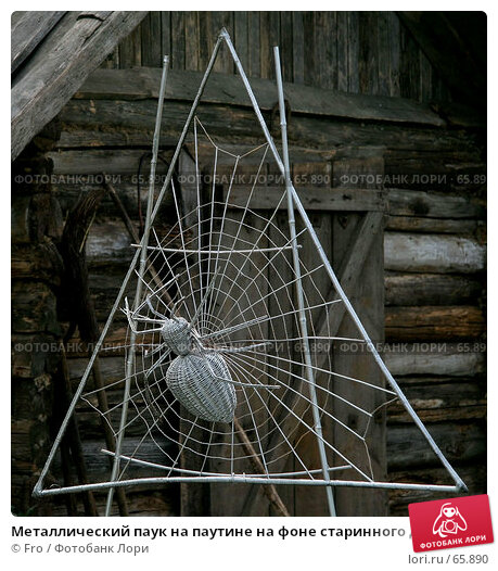 Металлический паук на паутине на фоне старинного деревянного дома, фото № 65890, снято 14 июля 2007 г. (c) Fro / Фотобанк Лори