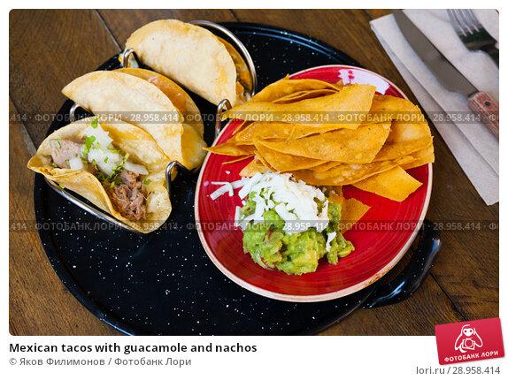 Купить «Mexican tacos with guacamole and nachos», фото № 28958414, снято 23 апреля 2019 г. (c) Яков Филимонов / Фотобанк Лори
