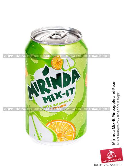 Купить «Mirinda Mix-It Pineapple and Pear», фото № 32554110, снято 30 ноября 2019 г. (c) Art Konovalov / Фотобанк Лори