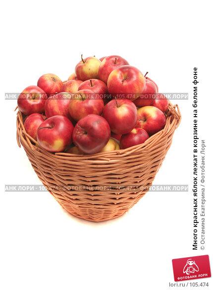 Много красных яблок лежат в корзине на белом фоне, фото № 105474, снято 10 октября 2007 г. (c) Останина Екатерина / Фотобанк Лори