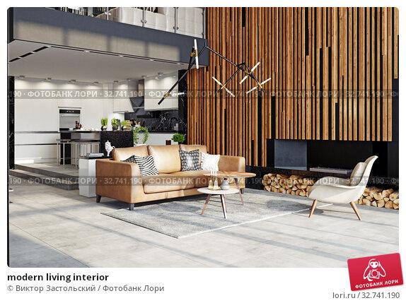 modern living interior. Стоковое фото, фотограф Виктор Застольский / Фотобанк Лори
