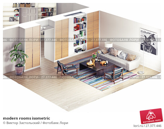 Купить «modern rooms isometric», фото № 27377446, снято 20 января 2018 г. (c) Виктор Застольский / Фотобанк Лори