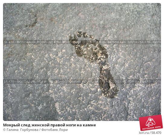 Мокрый след женской правой ноги на камне, фото № 58470, снято 28 июня 2006 г. (c) Галина  Горбунова / Фотобанк Лори