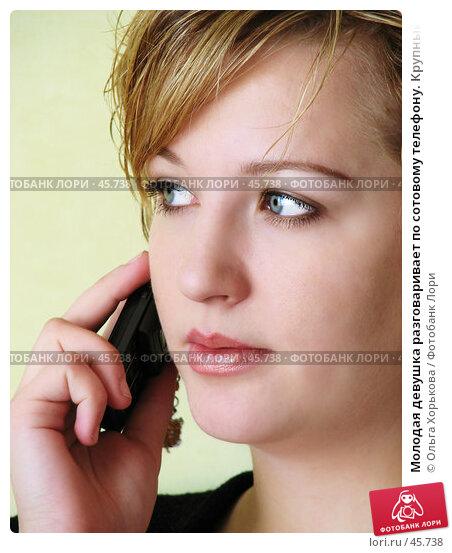 Молодая девушка разговаривает по сотовому телефону. Крупный план, фото № 45738, снято 12 апреля 2007 г. (c) Ольга Хорькова / Фотобанк Лори