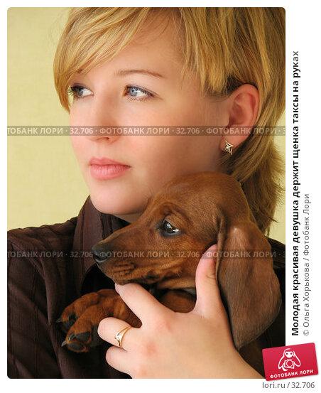 Молодая красивая девушка держит щенка таксы на руках, фото № 32706, снято 10 апреля 2007 г. (c) Ольга Хорькова / Фотобанк Лори