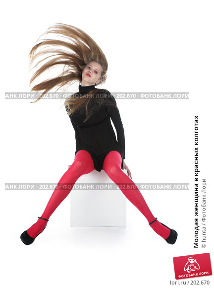 Молодая женщина в красных колготах, фото № 202670, снято 27 ноября 2007 г. (c) hunta / Фотобанк Лори